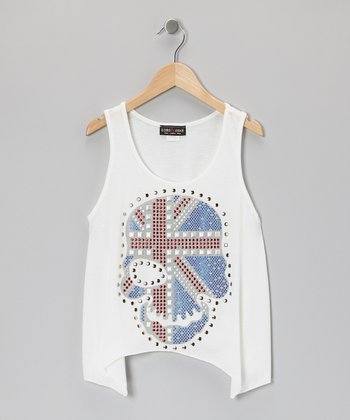 White Union Jack Skull Sidetail Tank