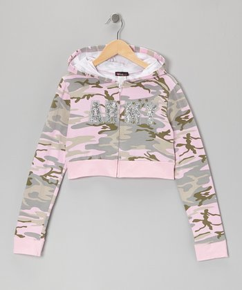 Pink & Gray Camouflage 'Army' Zip-Up Hoodie