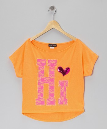 Orange 'Hi' Boatneck Tee