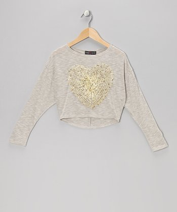 Cream Sequin Woven Heart Cropped Top