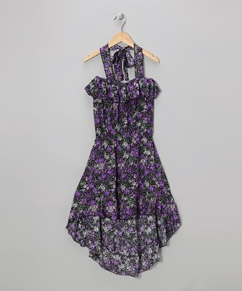 Purple Floral Hi-Low Halter Dress