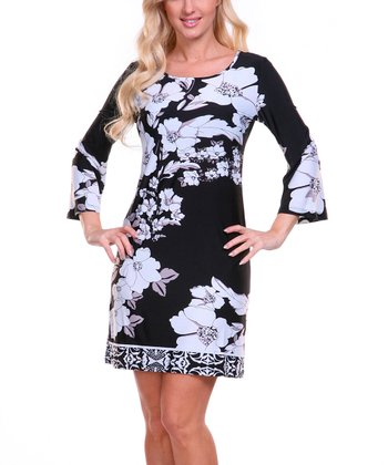 Black & White Floral Scoop Neck Dress