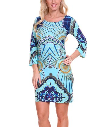Navy Blue & Aquamarine Radiant Scoop Neck Dress