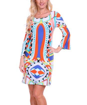 Orange & Blue Diamond Scoop Neck Dress