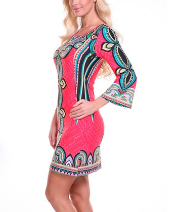 Red & Blue Teardrop Scoop Neck Dress
