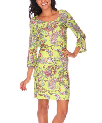 Yellow & Red Paisley Scoop Neck Dress