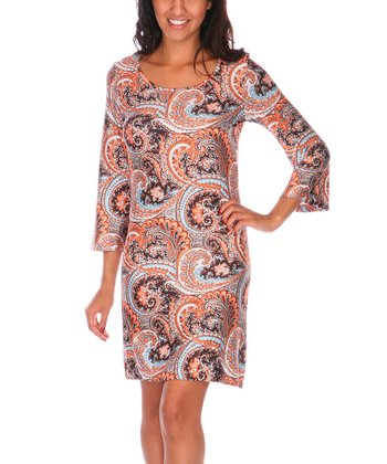 Orange & Brown Paisley Scoop Neck Dress