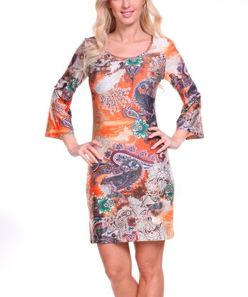 Orange & Green Paisley Scoop Neck Dress