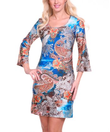 Blue & Brown Paisley Scoop Neck Dress