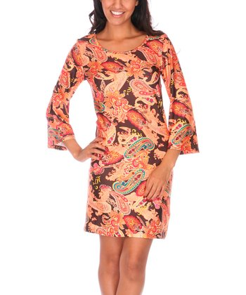 Brown & Orange Rebecca Scoop Neck Dress