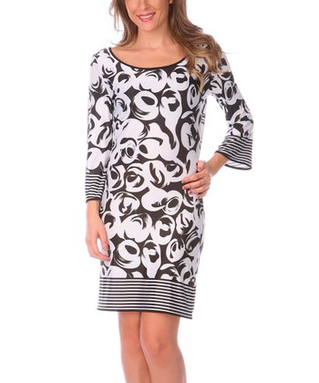 White & Black Abstract Stripe Scoop Neck Dress