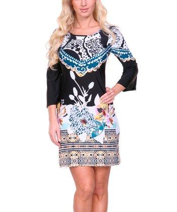 Black Tea & Blue Floral Paisley Scoop Neck Dress