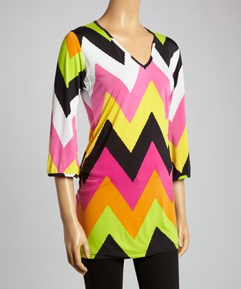 Pink & Lime Zigzag V-Neck Tunic