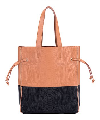 Foley & Agamo Apricot & Black Jaque Embossed Leather Tote