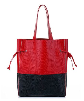 Foley & Agamo Red & Black Jaque Embossed Leather Tote
