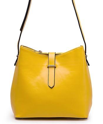 Foley & Agamo Yellow Jacqui Leather Crossbody Bag
