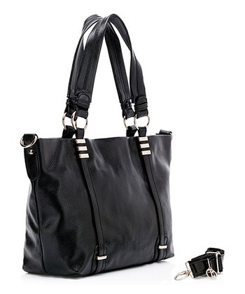Black Lara Leather Tote