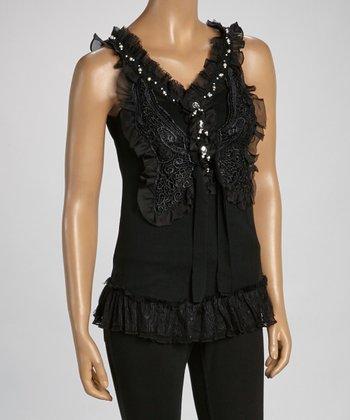 Black Ruffle Silk-Blend Sleeveless Top
