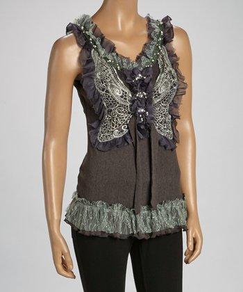 Gray Ruffle Silk-Blend Sleeveless Top