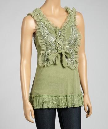 Green Ruffle Silk-Blend Sleeveless Top