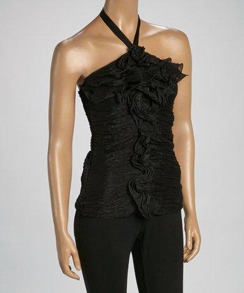Black Convertible Silk-Blend Strapless Top