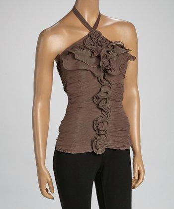 Brown Convertible Silk-Blend Strapless Top