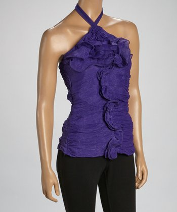 Purple Convertible Silk-Blend Strapless Top