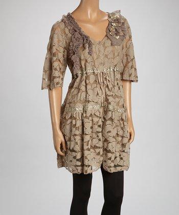 Brown Sheer Flower Linen-Blend Tunic