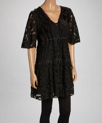 Black Sheer Flower Linen-Blend Tunic