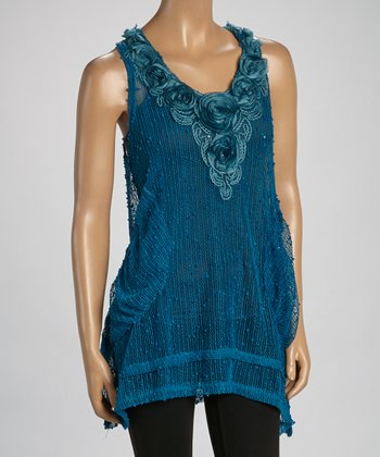 Turquoise Sheer Linen-Blend Sleeveless Tunic