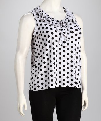 White Polka-Dot Ruffle Sleeveless Top - Plus