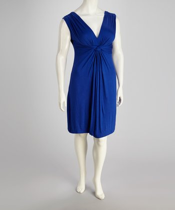 Royal Blue Knot Front Dress - Plus