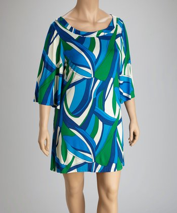 Blue & Green Plus-Size Dress