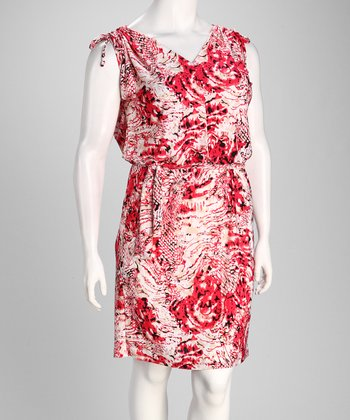 Red Snakeskin Shoulder Tie Sleeveless Dress - Plus
