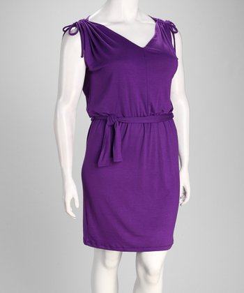 Purple Shoulder Tie Sleeveless Dress - Plus