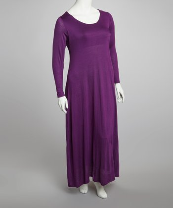 Purple Long-Sleeve Maxi Dress - Plus