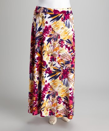 Yellow Floral Plus-Size Maxi Skirt