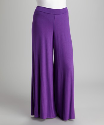Purple Palazzo Pants - Plus