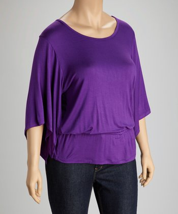 Purple Cape-Sleeve Top - Plus