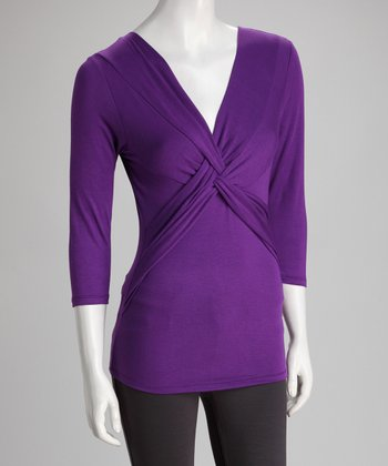 Purple Twist-Front Top - Women