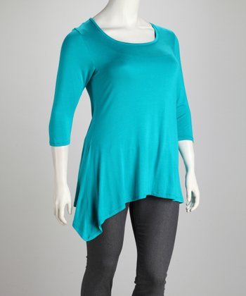 Teal Plus-Size Sidetail Tunic