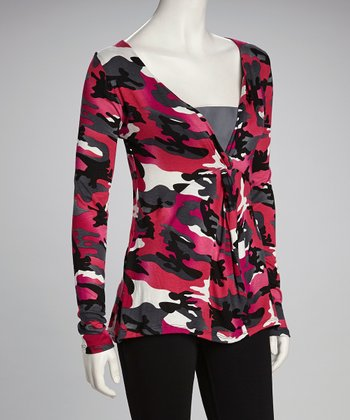 Fuchsia & Black Camouflage Surplice Top