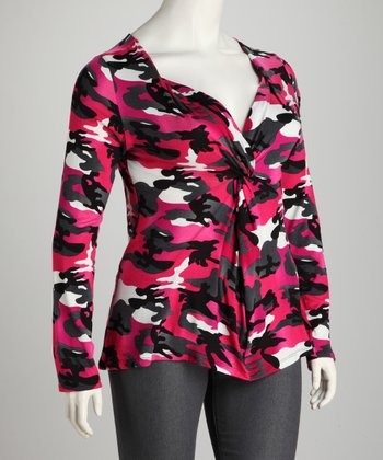Fuchsia Plus-Size Knot-Front Top