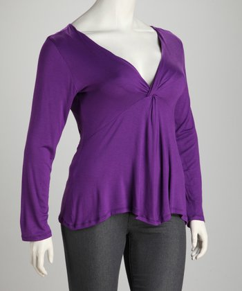 Purple Plus-Size Knot-Front Top