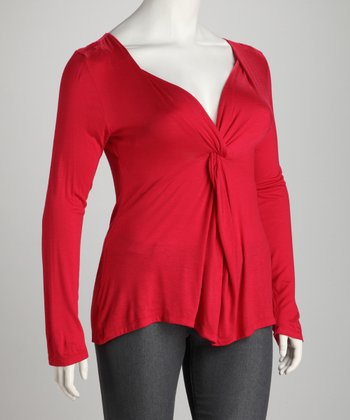 Red Plus-Size Knot-Front Top