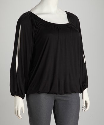 Black Split Sleeve Top - Plus