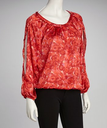 Red Flower Scoop Neck Top - Plus