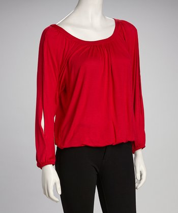 Red Scoop Neck Top