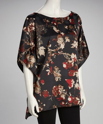Black & Red Silk Dolman Top