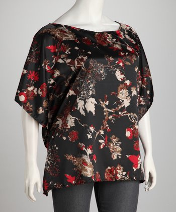 Black Flower Silk Plus-Size Dolman Tunic